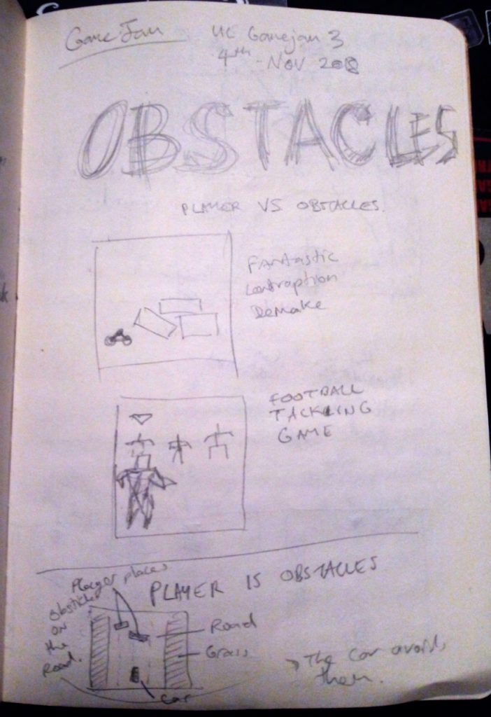 "Game Design Notes (page 1) I made during the UL Gamejam 2018 for ""OBSTACLES"" by Darren Kearney"