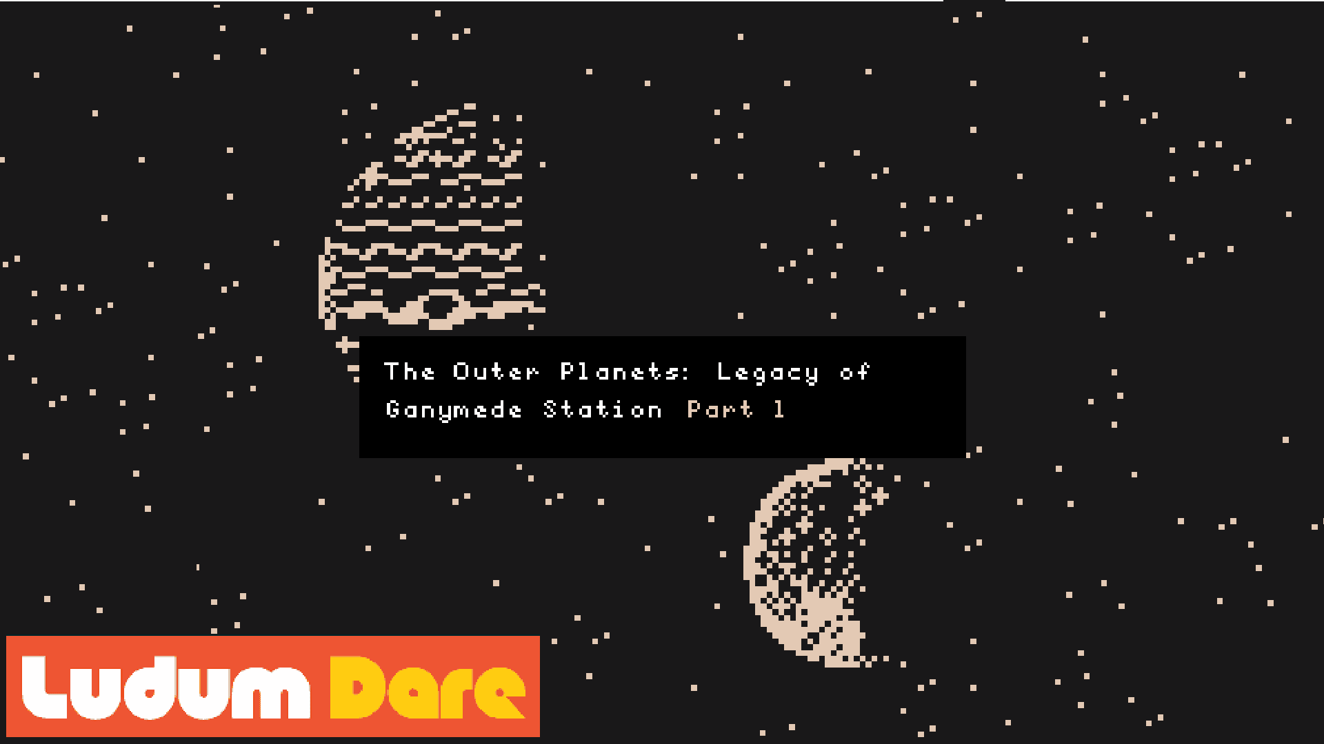 Pixel art image of Jupiter and it's moon Ganymede with title text The Outer Planets: Legacy of Ganymede Station - Part 1, by Darren Kearney