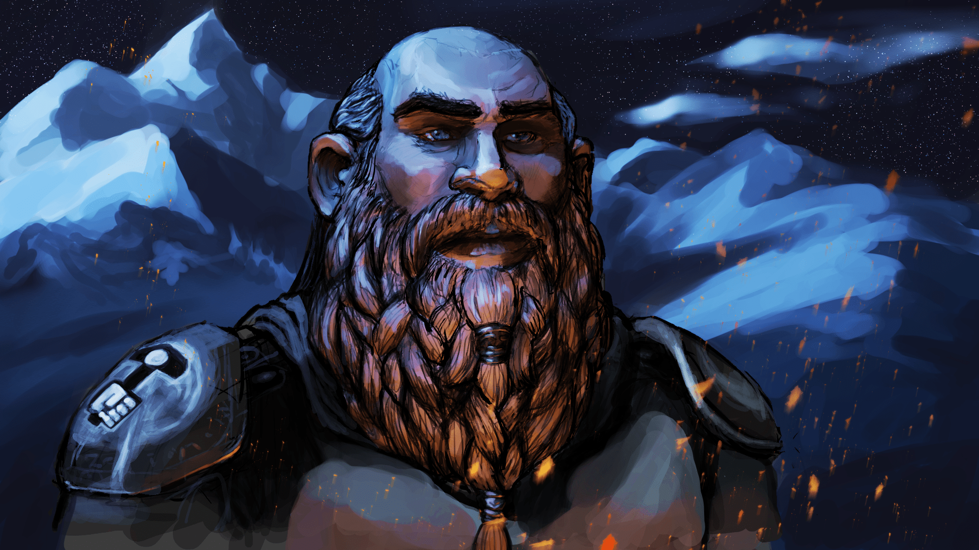Clayrick Dwarven Cleric Illustration with overpaint by Darren Kearney